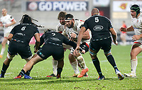 Monday 9th November 2020 | Ulster Rugby vs Glasgow Warriors<br /> <br /> Marcell Coetzee is tackled by Grant Stewart during the Guinness PRO14 Round 5 match between Ulster Rugby and Glasgow Warriors at Kingspan Stadium in Belfast, Northern Ireland. Photo by John Dickson / Dicksondigital