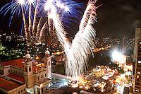 Ao final dos festejos  do círio de nossa senhora de Nazaré, que este ano reuniu durante a procissão mais de 2.000.000 de pessoas é encerrado durante queima de fogos em frente a Basílica de Nossa Senhora de Nazaré. Depois de quinze dias de festas as luzes da basílica se apagam.23/10/2005Belém, Pará,Brasil.Foto Paulo Santos/Interfoto