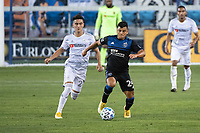 SAN JOSE, CA - NOVEMBER 04: Eduard Atuesta #20 of the Los Angeles FC chases Nick Lima #24 of the San Jose Earthquakes during a game between Los Angeles FC and San Jose Earthquakes at Earthquakes Stadium on November 04, 2020 in San Jose, California.
