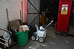 Pitch marking equipment in a shed behind the Braemar Road stand pictured before Brentford hosted Leeds United in an EFL Championship match at Griffin Park. Formed in 1889, Brentford have played their home games at Griffin Park since 1904, but are moving to a new purpose-built stadium nearby. The home team won this match by 2-0 watched by a crowd of 11,580.