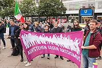 """Das Buendnis fuer ein weltoffenes und tolerantes Berlin, ein Buendnis von Kirchen, Gewerkschaften, Sport- und Wohlfahrtsverbaenden und weiteren zivilgesellschaftlichen Organisationen rief unter dem Motto """"Verantwortung fuer die Vergangenheit uebernehmen - fuer Gegenwart und Zukunft"""" zu einer Kundgebung am 17. August 2019, auf dem Alexanderplatz auf. <br /> Anlass fuer die Kundgebung waren berlinweite Proteste gegen den einen sog. """"Hessmarsch"""" von Rechtsextremisten und Neonazis.<br /> Im Bild hinter dem Transparent vlnr.: Lala Suesskind, JFDA – Juedisches Forum fuer Demokratie und gegen Antisemitismus und Bischof Dr.Markus Droege, Evangelische Kirche Berlin-Brandenburg-schlesische Oberlausitz.<br /> 17.8.2019, Berlin<br /> Copyright: Christian-Ditsch.de<br /> [Inhaltsveraendernde Manipulation des Fotos nur nach ausdruecklicher Genehmigung des Fotografen. Vereinbarungen ueber Abtretung von Persoenlichkeitsrechten/Model Release der abgebildeten Person/Personen liegen nicht vor. NO MODEL RELEASE! Nur fuer Redaktionelle Zwecke. Don't publish without copyright Christian-Ditsch.de, Veroeffentlichung nur mit Fotografennennung, sowie gegen Honorar, MwSt. und Beleg. Konto: I N G - D i B a, IBAN DE58500105175400192269, BIC INGDDEFFXXX, Kontakt: post@christian-ditsch.de<br /> Bei der Bearbeitung der Dateiinformationen darf die Urheberkennzeichnung in den EXIF- und  IPTC-Daten nicht entfernt werden, diese sind in digitalen Medien nach §95c UrhG rechtlich geschuetzt. Der Urhebervermerk wird gemaess §13 UrhG verlangt.]"""