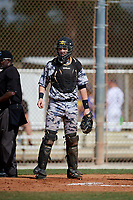 Tanner Garrison during the WWBA World Championship at the Roger Dean Complex on October 20, 2018 in Jupiter, Florida.  Tanner Garrison is a catcher from Elgin, South Carolina who attends Cardinal Newman High School and is committed to Coastal Carolina.  (Mike Janes/Four Seam Images)