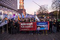 """AfD protestiert in Berlin gegen die Fluechtlingspolitik der Bundesregierung.<br /> Am Samstag den 31. Oktober 2015 versammelten sich ca. 250 Anhaenger der Rechts-Partei Alternative fuer Deutschland (AfD) zu einer Kundgebung gegen die Fluechtlings- und Asylpolitik der Bundesregierung. Dabei wurde die Bundeskanzlerin Angela Merkel mehrfach scharf angegriffen. Die Berichterstattung ueber Fluechtlinge in den Medien wurde mit lautstarken Rufen """"Luegenpresse"""" beschimpft.<br /> Der brandenburgische Landesvorsitzende Gauland forderte eine Fluechtlingspolitik wie in Japan, wo angeblich nur 20 Fluechtlinge pro Jahr aufgenommen werden.<br /> Etwa 350 Menschen protestierten gegen die Veranstaltung der Rechten und blockierten kurzzeitig deren Marschroute. Die Polizei ordnete daraufhin eine verkuerzte Route an und raeumte dafuer der AfD den Weg frei.<br /> Im Bild 1. vlnr. am Transparent: Beatrix Amelie Ehrengard Eilika von Storch, geborene Herzogin von Oldenburg, stellvertretende AfD-Vorsitzende.<br /> 4.vl. am Transparent: Alexander Gauland, AfD-Landesvorsitzender aus Brandenburg.<br /> 31.10.2015, Berlin<br /> Copyright: Christian-Ditsch.de<br /> [Inhaltsveraendernde Manipulation des Fotos nur nach ausdruecklicher Genehmigung des Fotografen. Vereinbarungen ueber Abtretung von Persoenlichkeitsrechten/Model Release der abgebildeten Person/Personen liegen nicht vor. NO MODEL RELEASE! Nur fuer Redaktionelle Zwecke. Don't publish without copyright Christian-Ditsch.de, Veroeffentlichung nur mit Fotografennennung, sowie gegen Honorar, MwSt. und Beleg. Konto: I N G - D i B a, IBAN DE58500105175400192269, BIC INGDDEFFXXX, Kontakt: post@christian-ditsch.de<br /> Bei der Bearbeitung der Dateiinformationen darf die Urheberkennzeichnung in den EXIF- und  IPTC-Daten nicht entfernt werden, diese sind in digitalen Medien nach §95c UrhG rechtlich geschuetzt. Der Urhebervermerk wird gemaess §13 UrhG verlangt.]"""