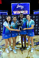 From left, Mystics' Saviour Tui, Filda Vui, Grace Nweke and Bailey Mes after the ANZ Premiership netball final between Northern Mystics and Mainland Tactix at Spark Arena in Auckland, New Zealand on Sunday, 8 August 2021. Photo: Dave Lintott / lintottphoto.co.nz