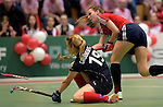 GER - Luebeck, Germany, February 06: During the 1. Bundesliga Damen indoor hockey semi final match at the Final 4 between Berliner HC (blue) and Duesseldorfer HC (red) on February 6, 2016 at Hansehalle Luebeck in Luebeck, Germany. Final score 1-3 (HT 0-1). (Photo by Dirk Markgraf / www.265-images.com) *** Local caption *** Elisa Graeve #26 of Duesseldorfer HC, Anke Grueneberg #19 of Berliner HC