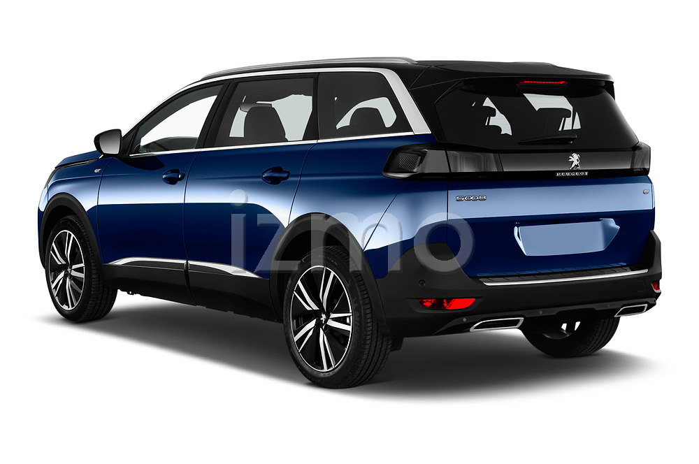 Car pictures of rear three quarter view of 2021 Peugeot 5008 GT 5 Door SUV Angular Rear