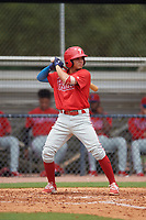 GCL Phillies West Luis Rojas (2) bats during a Gulf Coast League game against the GCL Yankees East on July 26, 2019 at the New York Yankees Minor League Complex in Tampa, Florida.  (Mike Janes/Four Seam Images)