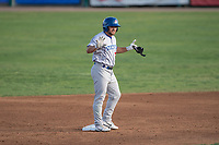 Stockton Ports second baseman Nate Mondou (10) asks for time after hitting a double during a California League game against the Visalia Rawhide at Visalia Recreation Ballpark on May 8, 2018 in Visalia, California. Stockton defeated Visalia 6-2. (Zachary Lucy/Four Seam Images)