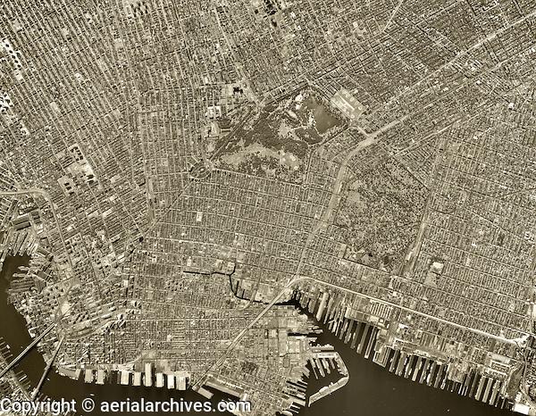historical aerial photo Brooklyn, New York City, 1963