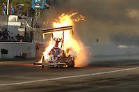 Nov 3, 2007; Pomona, CA, USA; NHRA top fuel dragster driver Mike Strasburg explodes an engine during qualifying for the Auto Club Finals at Auto Club Raceway at Pomona. Mandatory Credit: Mark J. Rebilas-US PRESSWIRE