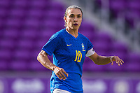ORLANDO, FL - FEBRUARY 24: Marta #10 of Brazil waits for the ball during a game between Brazil and Canada at Exploria Stadium on February 24, 2021 in Orlando, Florida.