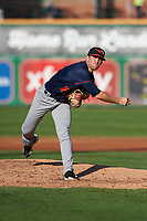 Bowling Green Hot Rods relief pitcher Alan Strong (16) during a Midwest League game against the Peoria Chiefs at Dozer Park on May 5, 2019 in Peoria, Illinois. Peoria defeated Bowling Green 11-3. (Zachary Lucy/Four Seam Images)