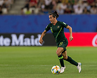 GRENOBLE, FRANCE - JUNE 18: Lisa De Vanna #11 of the Australian National Team dribbles at midfield during a game between Jamaica and Australia at Stade des Alpes on June 18, 2019 in Grenoble, France.