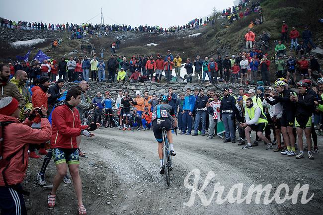 Siutsou Kanstantsin (BLR/SKY) up the final switchbacks on the dirt roads of the Colle delle Finestre (2178m)<br /> <br /> Giro d'Italia 2015<br /> stage 20: Saint Vincent - Sestriere (199km)