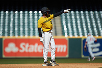 Brandt Belk (21) of the Missouri Tigers points to his dugout as he stands on second base during the game against the Oklahoma Sooners in game four of the 2020 Shriners Hospitals for Children College Classic at Minute Maid Park on February 29, 2020 in Houston, Texas. The Tigers defeated the Sooners 8-7. (Brian Westerholt/Four Seam Images)