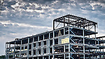Steel framing for construction of building. Miami Valley South, Dayton Ohio.