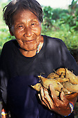 Koatinemo Village, Brazil. Smiling elderly Assurini Indian woman holding sweet potatoes. Para State.