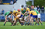 In There Somewhere...Clare and Limerick players search for the ball during their Munster U-21 hurling quarter final at Cusack park. Photograph by John Kelly.