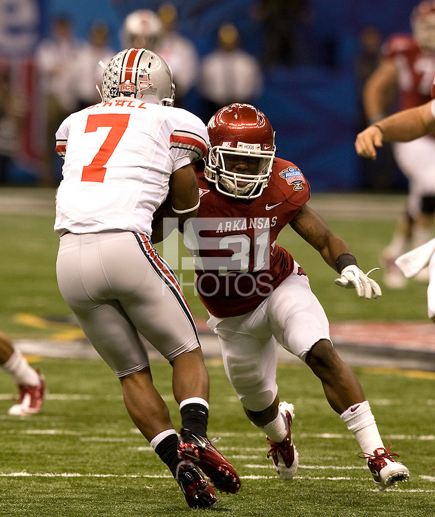 Jerico Nelson of Arkansas in action against Ohio State during 77th Annual Allstate Sugar Bowl Classic at Louisiana Superdome in New Orleans, Louisiana on January 4th, 2011.  Ohio State defeated Arkansas, 31-26.