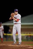 Auburn Doubledays relief pitcher Jared Brasher (10) gets ready to deliver a pitch during a game against the Batavia Muckdogs on September 6, 2017 at Dwyer Stadium in Batavia, New York.  Auburn defeated Batavia 6-3.  (Mike Janes/Four Seam Images)