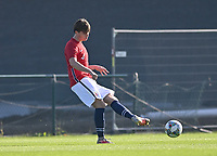 Thorbjorn Kristiansen (4) of Norway pictured during a soccer game between the national teams Under17 Youth teams of  Norway and Luxemburg on day 2 in the Qualifying round in group 3 on saturday 9 th of October 2020  in Tubize , Belgium . PHOTO SPORTPIX   DAVID CATRY