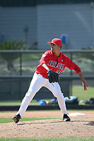 Rio Gomez (29) of the Arizona Wildcats pitches against the UCLA Bruins at Jackie Robinson Stadium on March 19, 2017 in Los Angeles, California. UCLA defeated Arizona, 8-7. (Larry Goren/Four Seam Images)