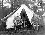 Gettysburg PA: View of McKeesport Boy's Brigade Captain and Lieutenant (Clark Stewart) in front of their tent while camping at Gettysburg. Brady and Clark Stewart were in Gettysburg with the Pittsburgh-area Boy's Brigade. They were in Gettysburg for the 40th anniversary of the battle of Gettysburg. The Boy's Brigade was a church-based youth organization started in the late 1800s in Scotland.
