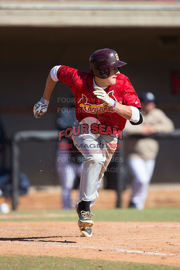 Johnny Zega (18) of Middletown South High School in Middletown, New Jersey playing for the St. Louis Cardinals scout team at the South Atlantic Border Battle at Doak Field on November 2, 2014.  (Brian Westerholt/Four Seam Images)