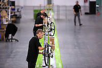 Pictured: James Head with other workers on the assembly line Monday 15 August 2016<br />Re: Frog Bikes in Mamhilad Estate Park in Pontypool, Wales, UK