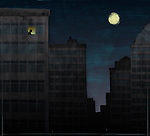 Conceptual illustration of business person working at office with full moon depicting workaholism