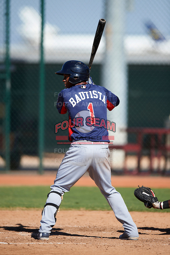 Cleveland Indians minor league second baseman Claudio Bautista #1 during an instructional league game against the Cincinnati Reds at the Goodyear Training Complex on October 8, 2012 in Goodyear, Arizona.  (Mike Janes/Four Seam Images)