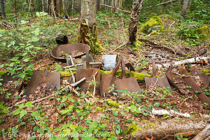 Artifacts at logging Camp 19 along the abandoned East Branch & Lincoln Railroad (1893-1948) in Lincoln, New Hampshire. This logging camp was located along the Anderson Brook Branch of the EB&L Railroad in today's Pemigewasset Wilderness. The removal of artifacts from federal lands without a permit is a violation of federal law.