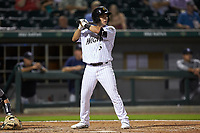 Nick Madrigal (3) of the Charlotte Knights at bat against the Scranton/Wilkes-Barre RailRiders at BB&T BallPark on August 13, 2019 in Charlotte, North Carolina. The Knights defeated the RailRiders 15-1. (Brian Westerholt/Four Seam Images)