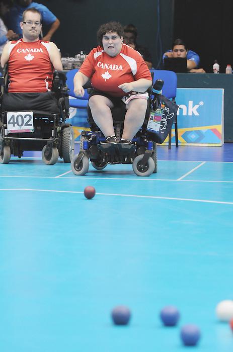 Caroline Vietnieks, Guadalajara 2011 - Boccia.<br /> Caroline Vietnieks during her Bronze Medal Match // Caroline Vietnieks lors de son match pour la médaille de bronze. 11/16/2011.