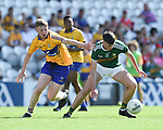 Jack Reidy of Clare in action against Michael Lenihan of Kerry during their Munster Minor football final at Pairc Ui Chaoimh. Photograph by John Kelly.