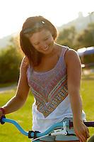 Georgina on DMR bike  .  Hayle skatepark  , Cornwall .