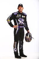 Jan 13, 2016; Brownsburg, IN, USA; NHRA funny car driver Jack Beckman poses for a portrait during a photo shoot at Don Schumacher Racing. Mandatory Credit: Mark J. Rebilas-USA TODAY Sports