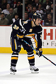 February 17th 2007:  Nathan Paetsch (38) of the Buffalo Sabres awaits a face off vs. the Boston Bruins at HSBC Arena in Buffalo, NY.  The Bruins defeated the Sabres 4-3 in a shootout.