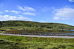 The peloton in action during Stage 3 of the 2018 Artic Race of Norway, running 194km from Honningsvg to Hammerfest, Norway. 18th August 2018. <br /> <br /> Picture: ASO/Pauline Ballet | Cyclefile<br /> All photos usage must carry mandatory copyright credit (© Cyclefile | ASO/Pauline Ballet)