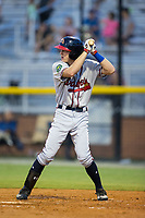 Drew Waters (12) of the Danville Braves at bat against the Burlington Royals at Burlington Athletic Stadium on August 14, 2017 in Burlington, North Carolina.  The Royals defeated the Braves 9-8 in 10 innings.  (Brian Westerholt/Four Seam Images)