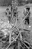 Lighting bonfires in the school grounds, Summerhill school, Leiston, Suffolk, UK. 1968.