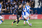 Mateo Kovacic (l) of Real Madrid is challenged by Ruben Perez of Deportivo Leganes during their La Liga match between Deportivo Leganes and Real Madrid at the Estadio Municipal Butarque on 05 April 2017 in Madrid, Spain. Photo by Diego Gonzalez Souto / Power Sport Images