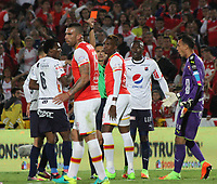BOGOTA -COLOMBIA, 2-04-2017.Johan Arango is kicked out of the game.Action game between Santa Fe and Medellin during match for the date 11 of the Aguila League I 2017 played at Nemesio Camacho El Campin stadium . Photo:VizzorImage / Felipe Caicedo  / Staff