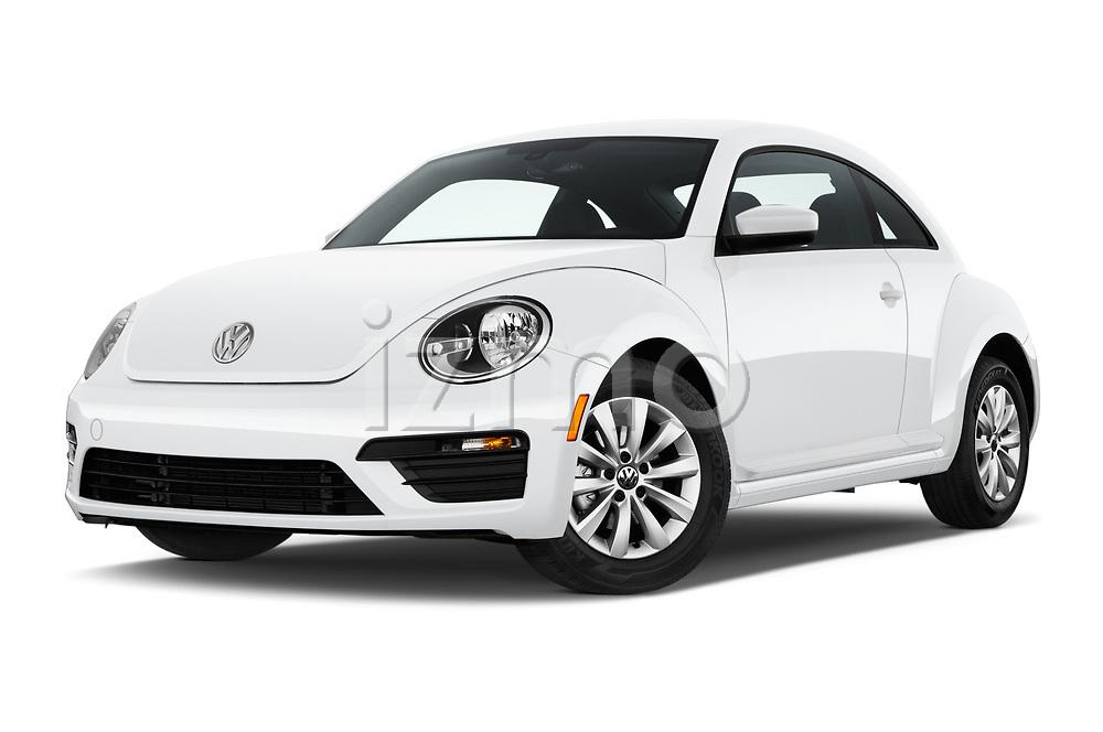 Stock pictures of low aggressive front three quarter view of a 2019 Volkswagen Beetle S 5 Door Hatchback