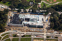 aerial photograph of the construction of the green roof at the San Francisco Academy of Sciences Museum, Golden Gate Park, San Francisco, California