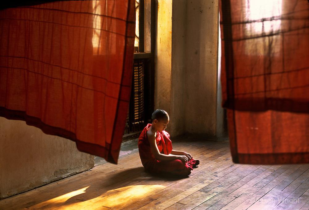 Monk reading, Sagain, Burma, Myanmar.