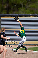 Siena Saints left fielder Ryne Martinez (9) catches a fly ball in foul territory during a game against the UCF Knights on February 21, 2016 at Jay Bergman Field in Orlando, Florida.  UCF defeated Siena 11-2.  (Mike Janes/Four Seam Images)