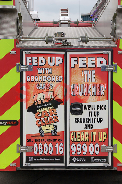 Warwickshire Fire and Rescue Service advertise a community fire safety campaign on the rear of their Fire Appliances. This image may only be used to portray the subject in a positive manner..©shoutpictures.com..john@shoutpictures.com