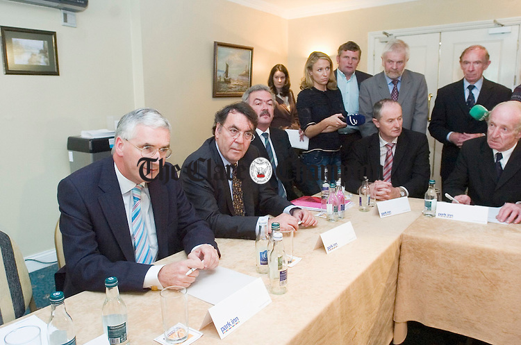The scene at the Park Inn hotel in Shannon during  the Aer Lingus meeting with local authority members and other concern groups at Shannon on Thursday. Photograph by John Kelly.