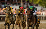 SARATOGA SPRINGS, NY- AUGUST 04: Irad Ortiz jr. celebrates winning the Whitney Stakes at Saratoga Racecourse on August 4, 2018 in Saratoga Springs, New York.(Photo by Alex Evers/Eclipse Sportswire)